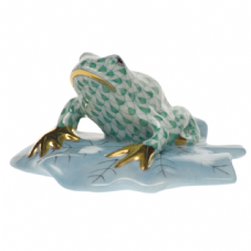 Herend Porcelain Fishnet Figurine of a Frog on a Lily Pad